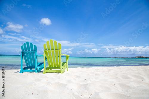 Obraz na płótnie Karaibskie krzesło plażowe