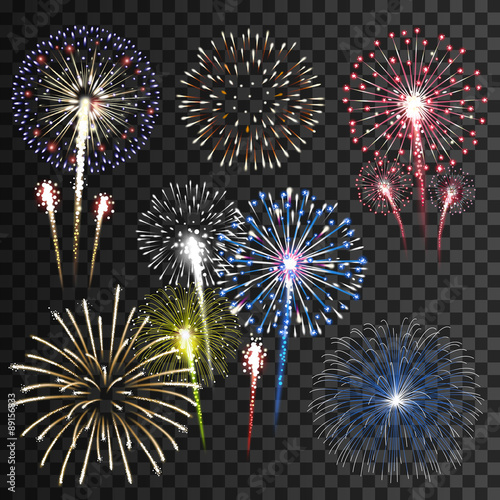 Canvas Print Set of isolated vector fireworks