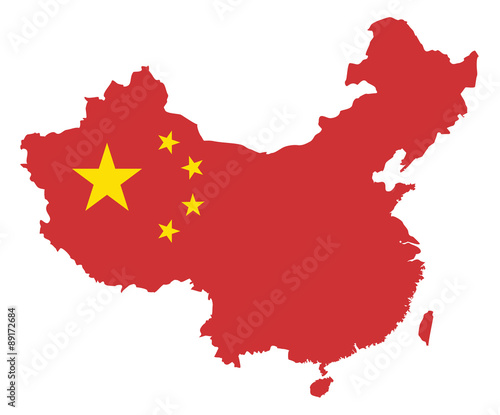 Canvas Print Peoples Republic of China Flag in Map Vector Illustration