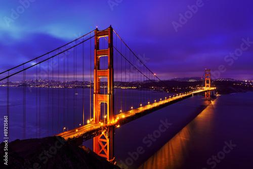 Blue night at Golden Gate Bridge in San Francisco, California, USA #89215861