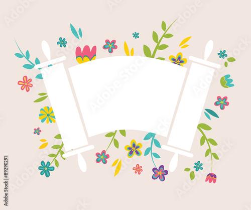 Obraz na plátně Jewish Torah surrounding with fresh vintage flowers