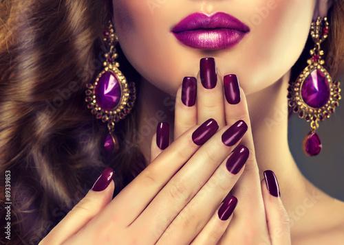 Fotografering Luxury fashion style, manicure nail , cosmetics and make-up
