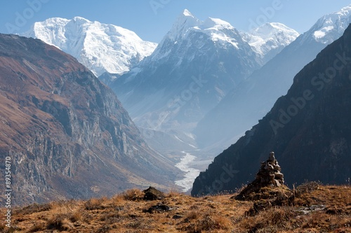Canvas Print View of Langtang Valley with Mt