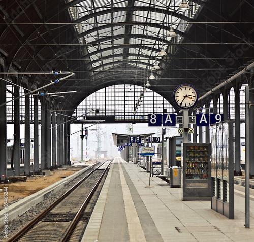 railway station with watch in Wiesbaden