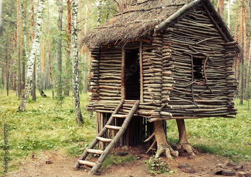 Fotografie, Tablou Hut Standing on Chicken Legs. Wooden House Fairy Grandmother Yaga