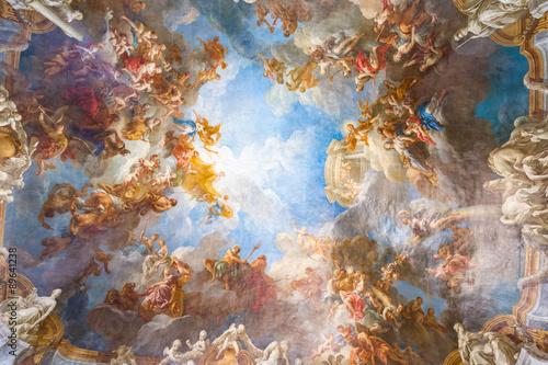 Malowidło sufitowe Pałacu Wersalskiego pod Paryżem, Francja