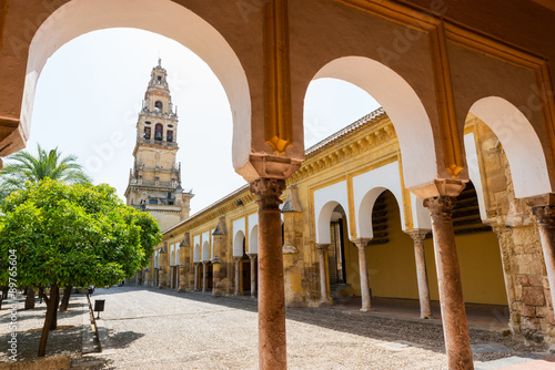 Bell tower and gardens of the Mosque Cathedral in Cordoba