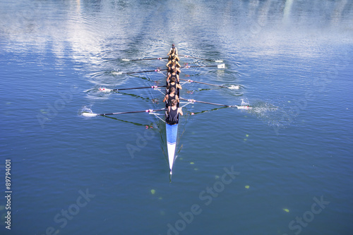 Obraz na plátně Boat coxed with eight Rowers