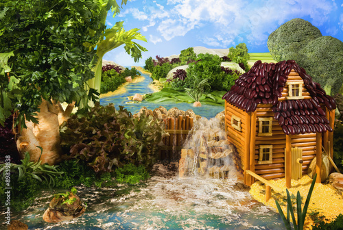 Obraz na płótnie Landscape with watermill made from food