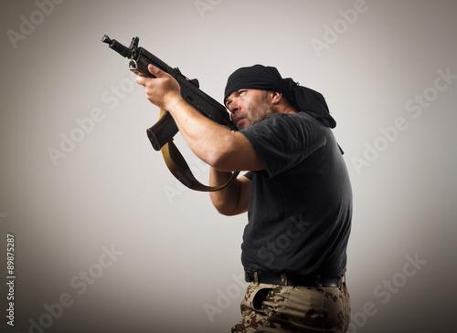 Canvas Print Man with gun