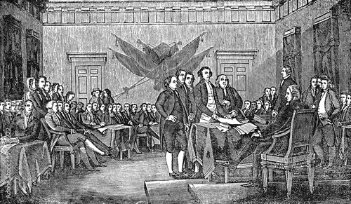 Foto An engraved illustration of the signing the USA  American Declaration of Indepen