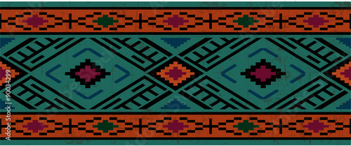 Obraz na płótnie Seamless pattern in native american style, boho ornament