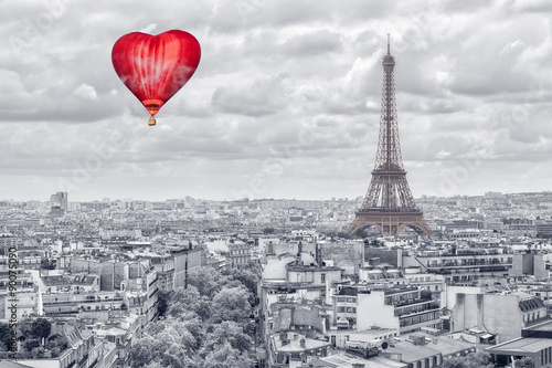 Balloon in the form of heart over Paris