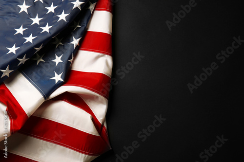 Photo American flag on dark background