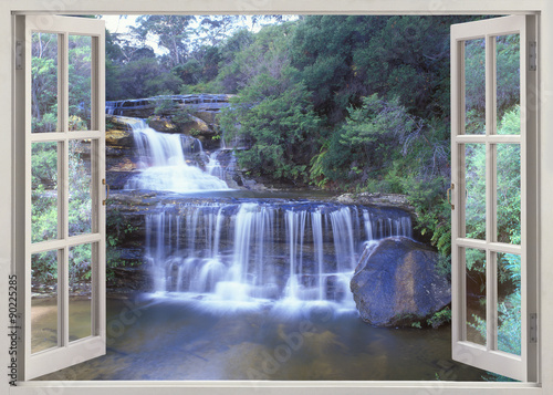 Open window view to Wentworth Falls, Jamison Creek, Blue Mountains region of New South Wales, Australia