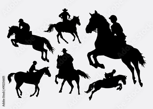 Tablou Canvas Male and female people riding horse sport action silhouettes