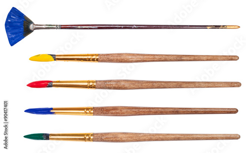 Fotografie, Obraz set of round art paintbrushes with painted tips