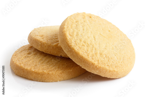Fototapeta Three round shortbread biscuits isolated on white.