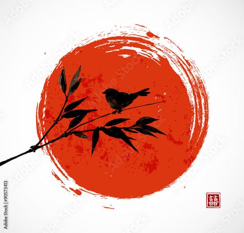 Card with bamboo bird and big red sun
