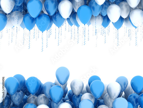 Fotografiet Blue and white party balloons