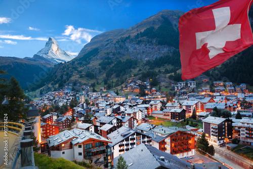 Canvas Print Zermatt village with the peak of the Matterhorn in the Swiss Alps