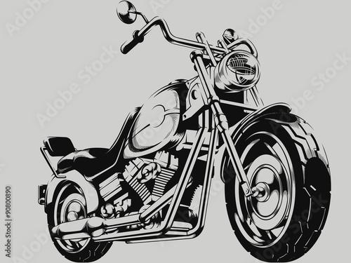 Canvas Print Vintage Motorcycle Vector Silhouette