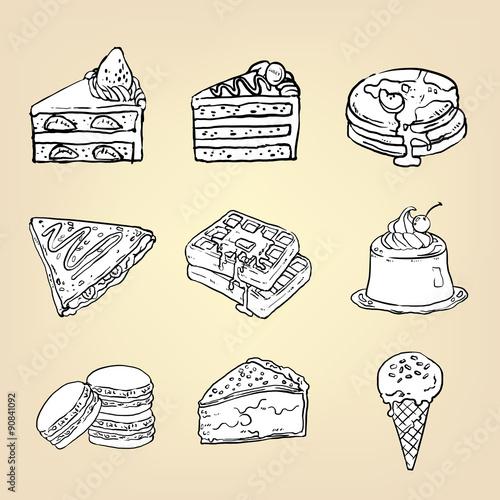 Vászonkép Doodle cake cheesecake waffle pudding macaron ice cream crepe pancake pie and ot