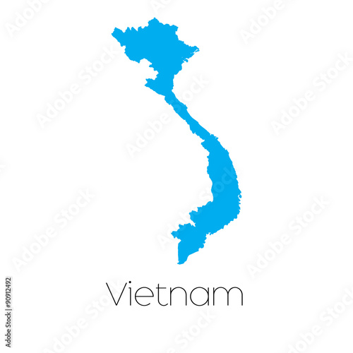 Wallpaper Mural Blue shape with name of the country of Vietnam