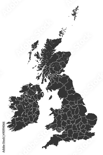 Leinwand Poster Map British Regions Counties States