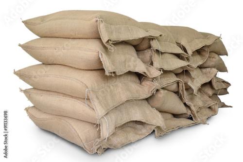 Stampa su Tela Hemp sacks containing rice