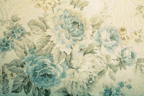 Fototapeta Vintage wallpaper with blue floral victorian pattern