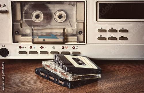 Stampa su Tela old retro cassette recorder