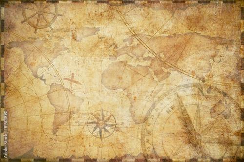Canvas-taulu old nautical treasure map background