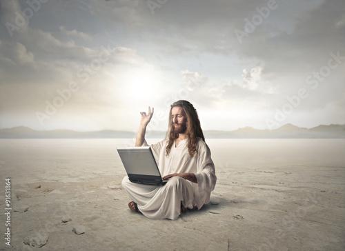 Plakat Jezus z komputerem