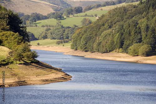 DERBYSHIRE UK - 29 Sept: LOWER DERWENT RESERVOIR earth embankments exposed by lo Poster Mural XXL