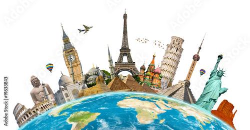 Obraz na płótnie Famous monuments of the world