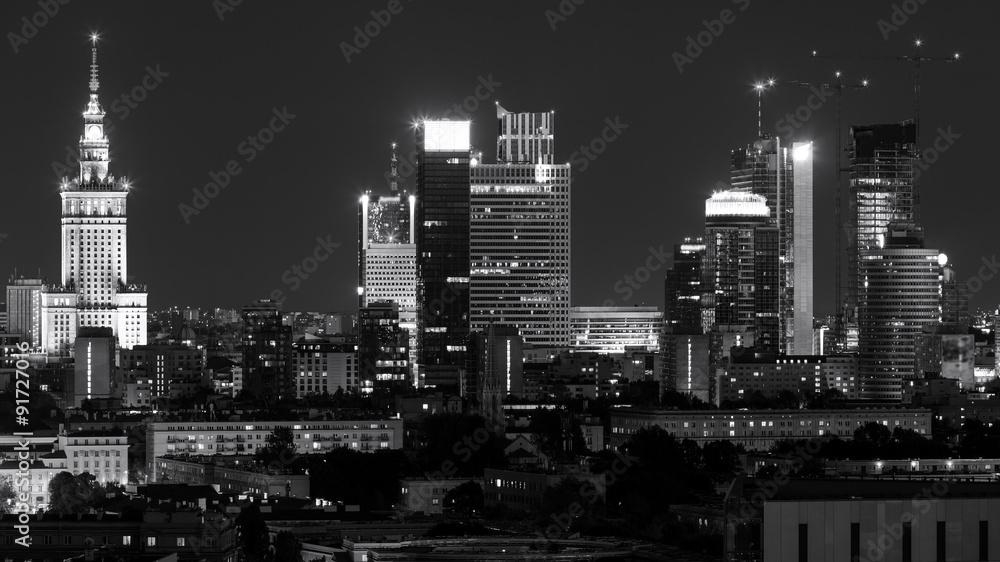Warsaw city center at night