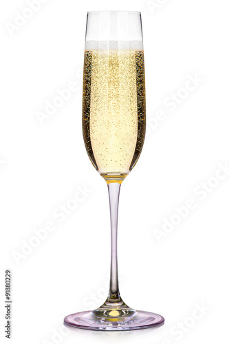 Canvas Print Glass of champagne isolated on a white