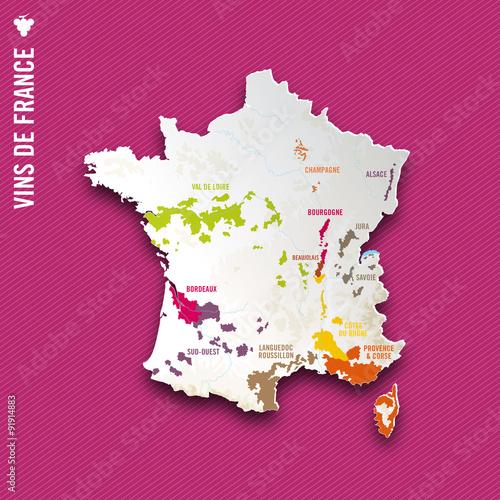 Carte des Vins de France Fototapeta