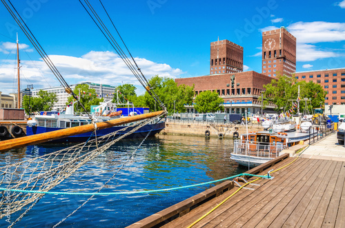Canvas Print Oslo City Hall from Harbour, Norway