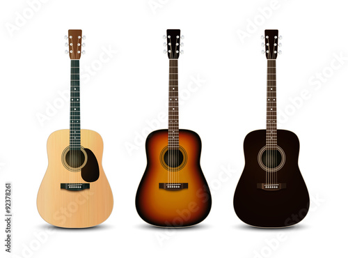 Fotografia Realistic acoustic guitars. Vector set