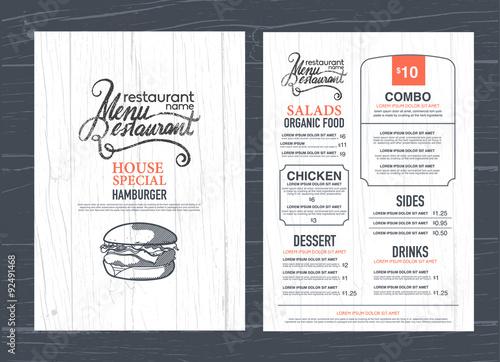 Stampa su Tela vintage restaurant menu design and wood texture background..