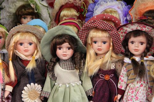 Obraz na płótnie Porcelain dolls in Prague market, sold as souvenirs