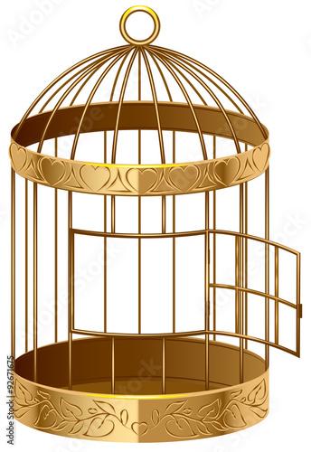 Open gold birdcage. An empty birdcage Fototapet