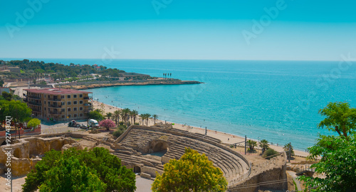 Aerial view of beach and Mediterranean Sea in Tarragona