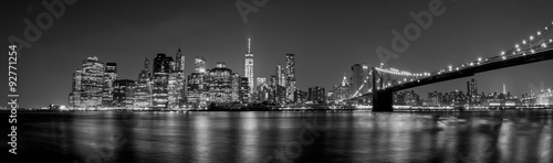 manhattan night view from brooklyn in black and white