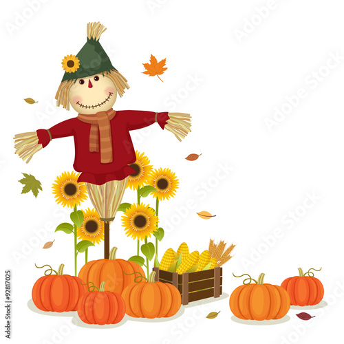 Autumn harvesting with cute scarecrow and pumpkins Fototapeta