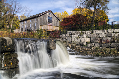 Abraham Erb's Grist Mill replica by the falls.