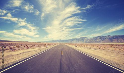 Obraz na plátne Vintage style highway in Death Valley, USA, travel adventure concept