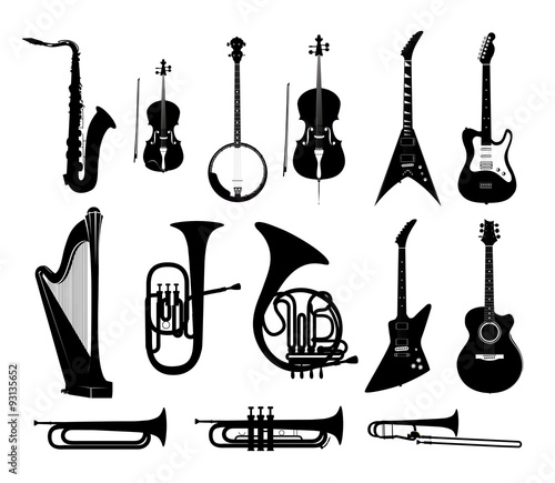 Fotografia Silhouettes of Musical Instruments in black and white isolated, Vector Illustrat
